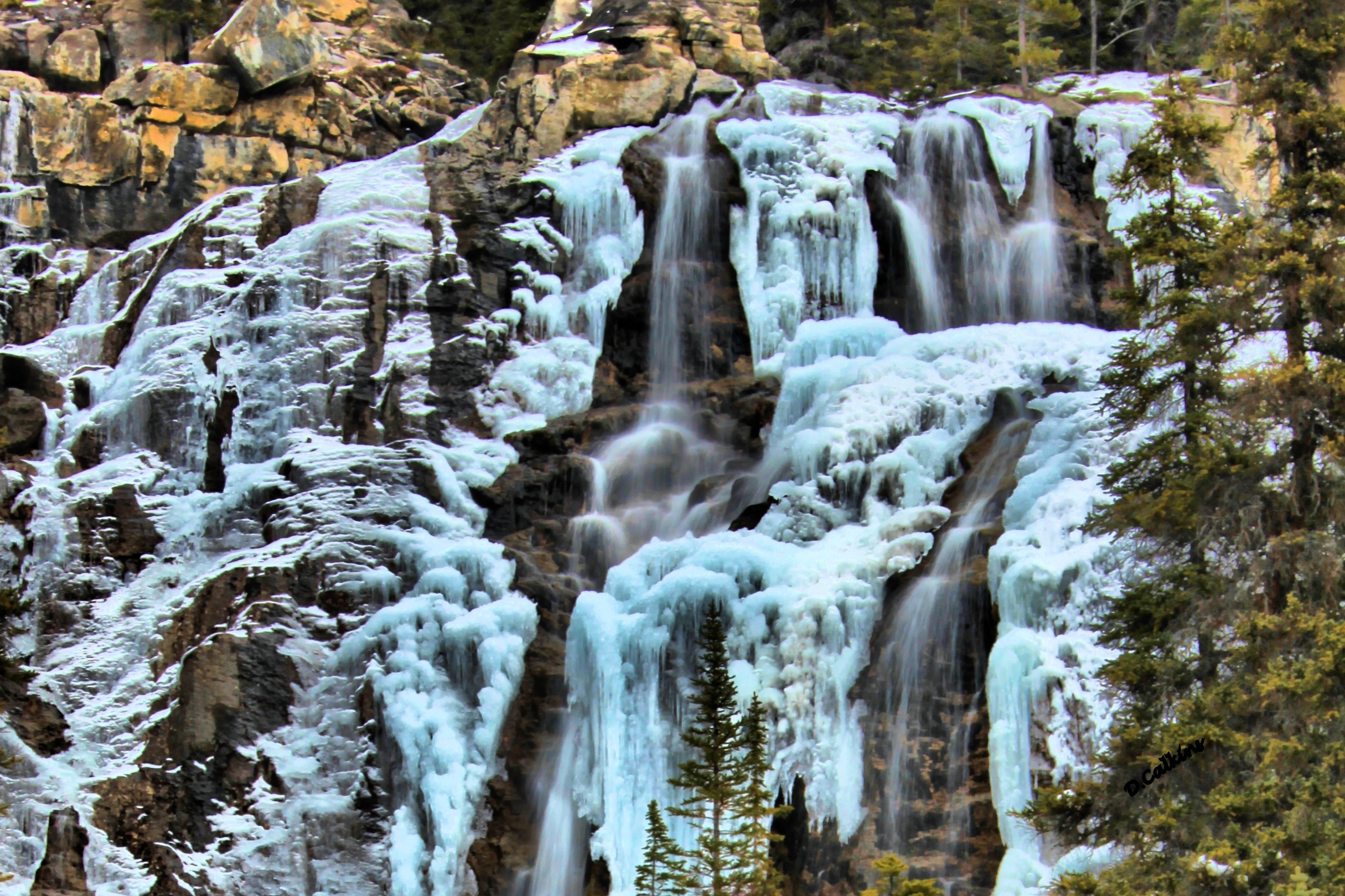 Tangle Creek waterfall, north of the Columbia Icefields